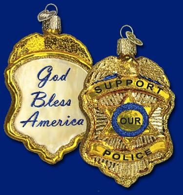 old world police badge ornament