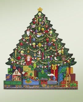 byers choice wooden christmas tree advent calendar - Porcelain Christmas Tree With Lights