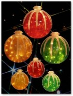 icy ball outdoor decoration lighted illuminated icy snow covered ornaments