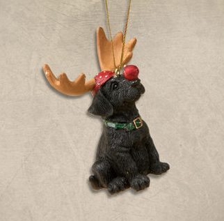 black lab with antlers ornament - Black Lab Christmas Ornament