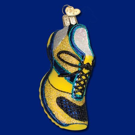 Old World Christmas Yellow and Blue Running Shoe Ornament ...