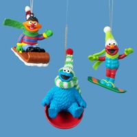ernie elmo and cookie monster ornaments