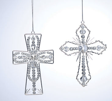 Beaded Silver Wire Cross Ornament - Christmas Store
