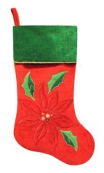 red and green stocking with poinsettia design