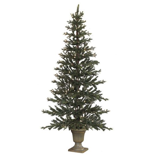 pre lit flat potted tree