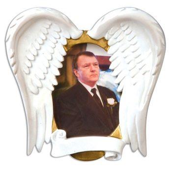 ogg080 loving memory angel wings frame memorial ornament