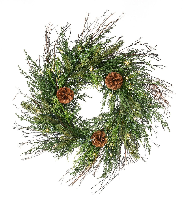 wrd044 clear LED spruce cedar pine cone wreath