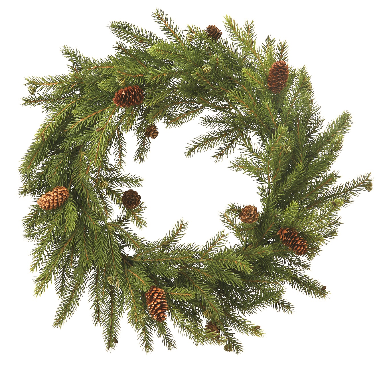 wrd047 white spruce wreath with pine cones