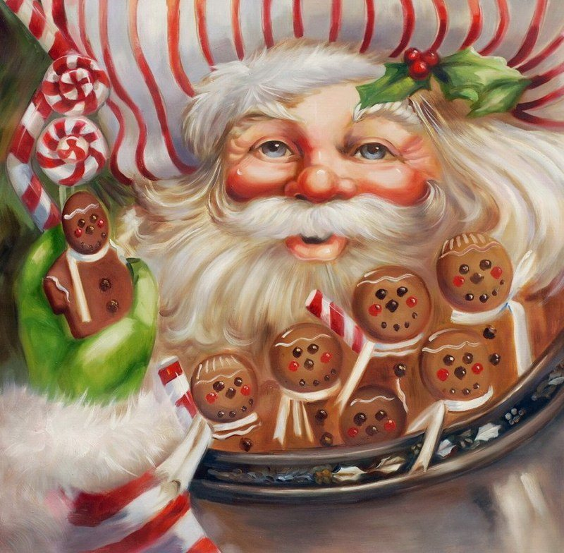 pi043 santa with gingerbread cookies canvas picture personalized picture