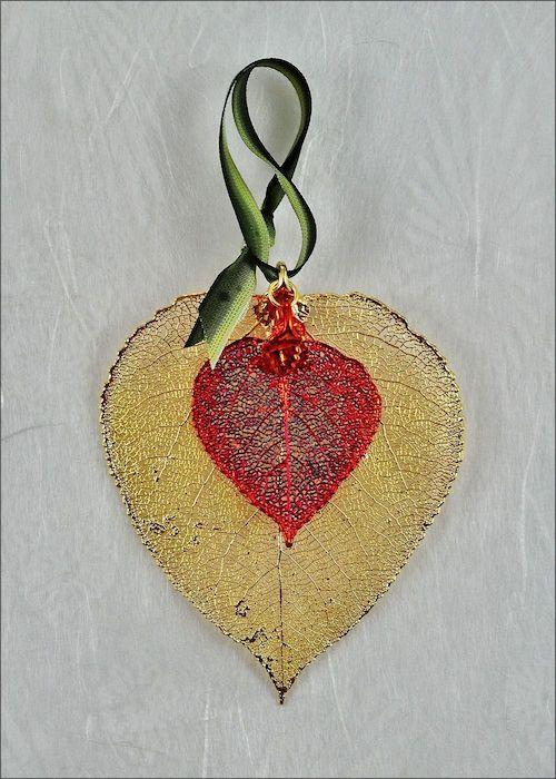 276 real aspen leaf double golden aspen leaf ornament