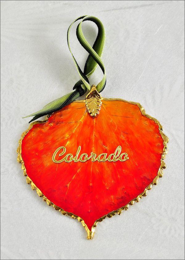 Real burnt orange aspen leaf ornament with colorado