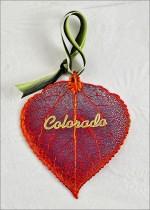 300ILTRNG real iridescent aspen leaf ornament