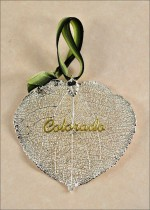 300SLTRNG real aspen leaf ornament silver aspen leaf with colorado ornament