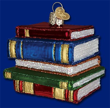 32112 old world christmas stack of books ornament