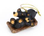 obf038 bearfoor bears sledding fun ornament