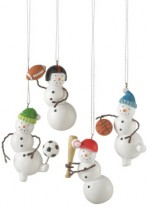 110669 snowman football soccer basketball baseball player ornament