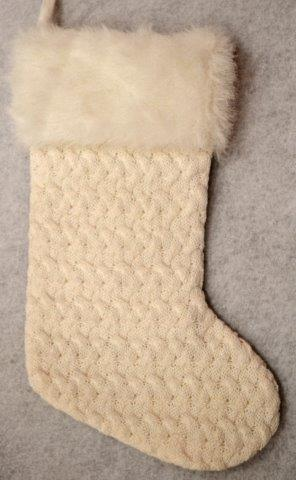 28607 white cable knit stocking