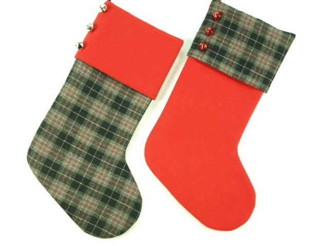 red plaid stocking with bells