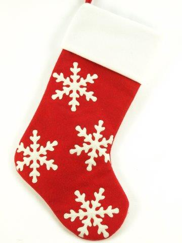 red and white snowflake stocking