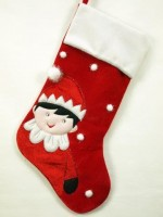 red and white elf on the shelf stocking