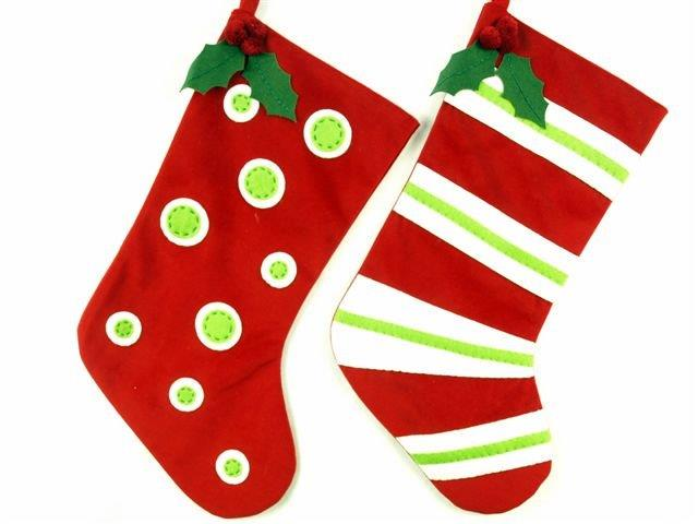 red and white polka dot and striped stocking Whimsical stocking