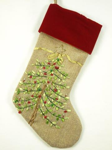 christmas tree stocking burlap