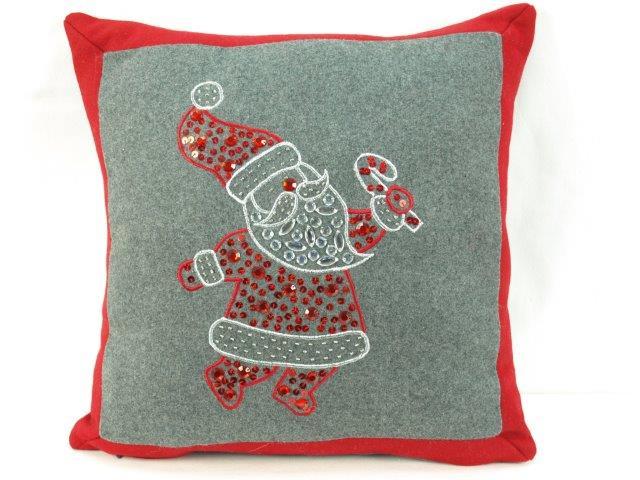 red and grey santa pillow