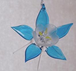 blue glass columbine ornament colorado ornament