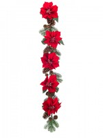 gad008 red poinsettia and pine cone garland