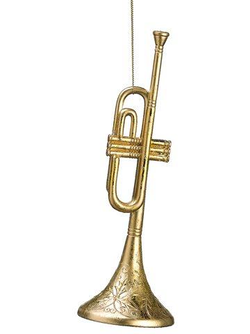 omi149 gold glitter trumpet ornament