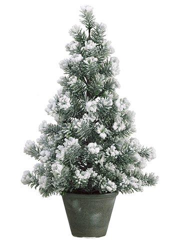 trmi033 flocked 2 foot pine tree unlit small tree