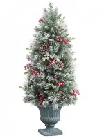 trxdl574rebr 4 foot pine cone flocked and holly berry tree unlit tree