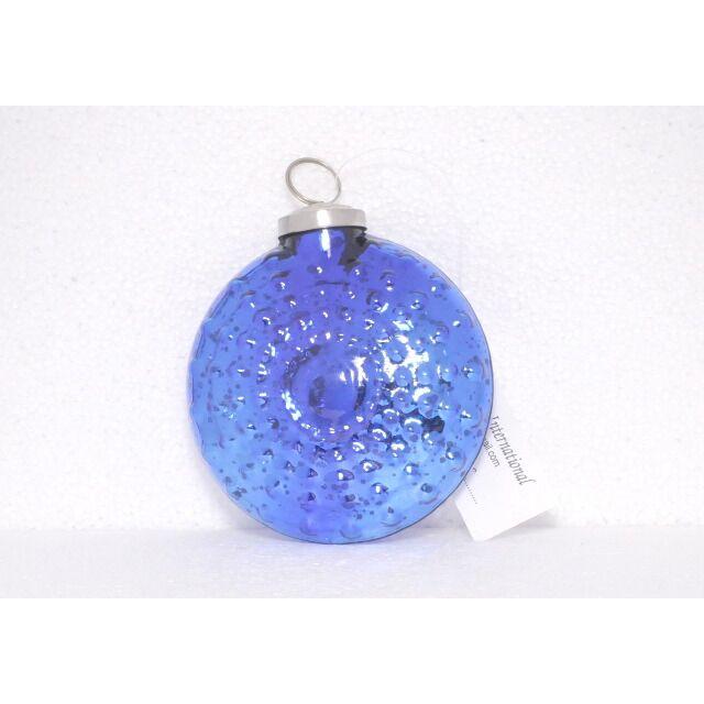 blue vintage glass disk ornament