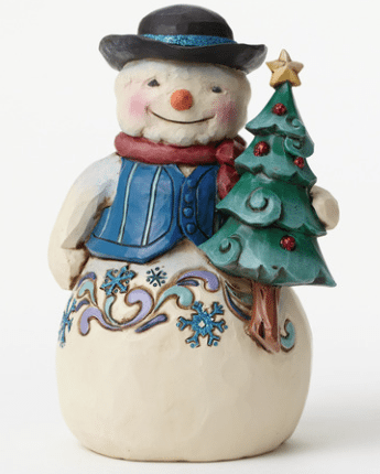 jim shore snowman with snowflake pattern and christmas tree