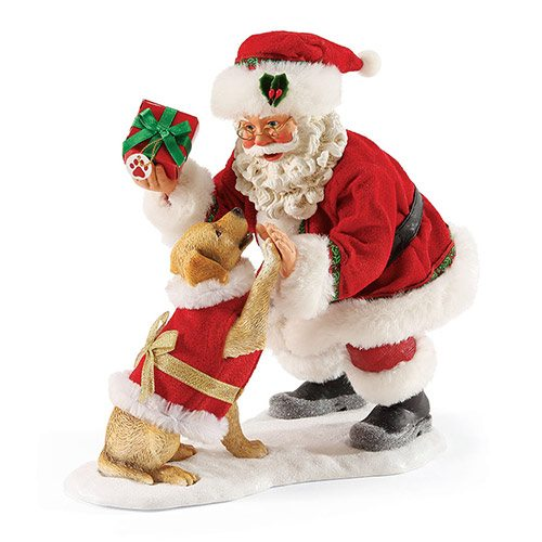 possible dreams high five santa with puppy