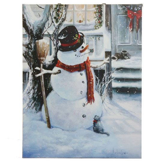 3311367 lighted snowman with cat canvas christmas picture
