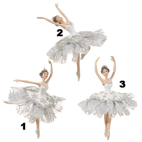 White and silver ballerina ornaments christmas store for Ballerina tree decoration