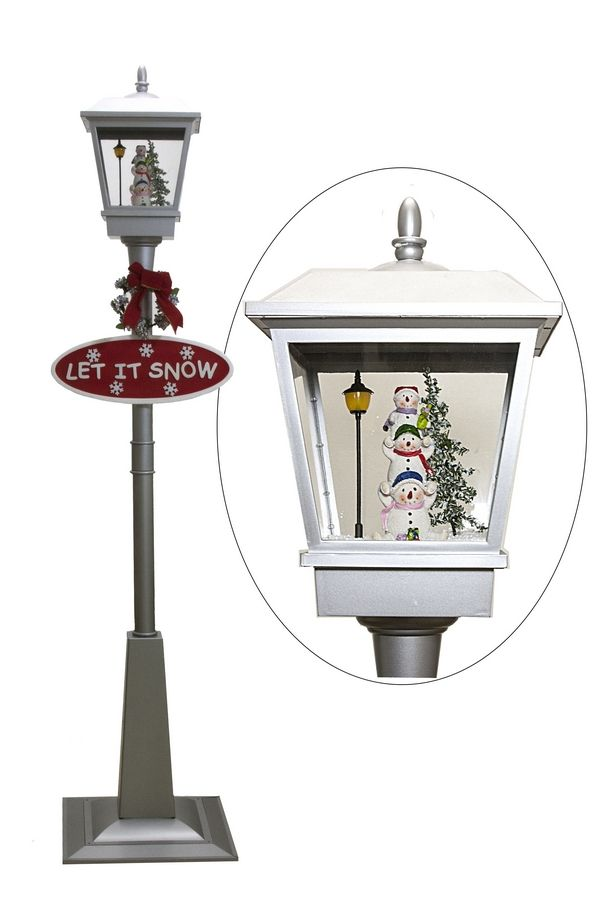 57196 snowing streetlamp with snowmen