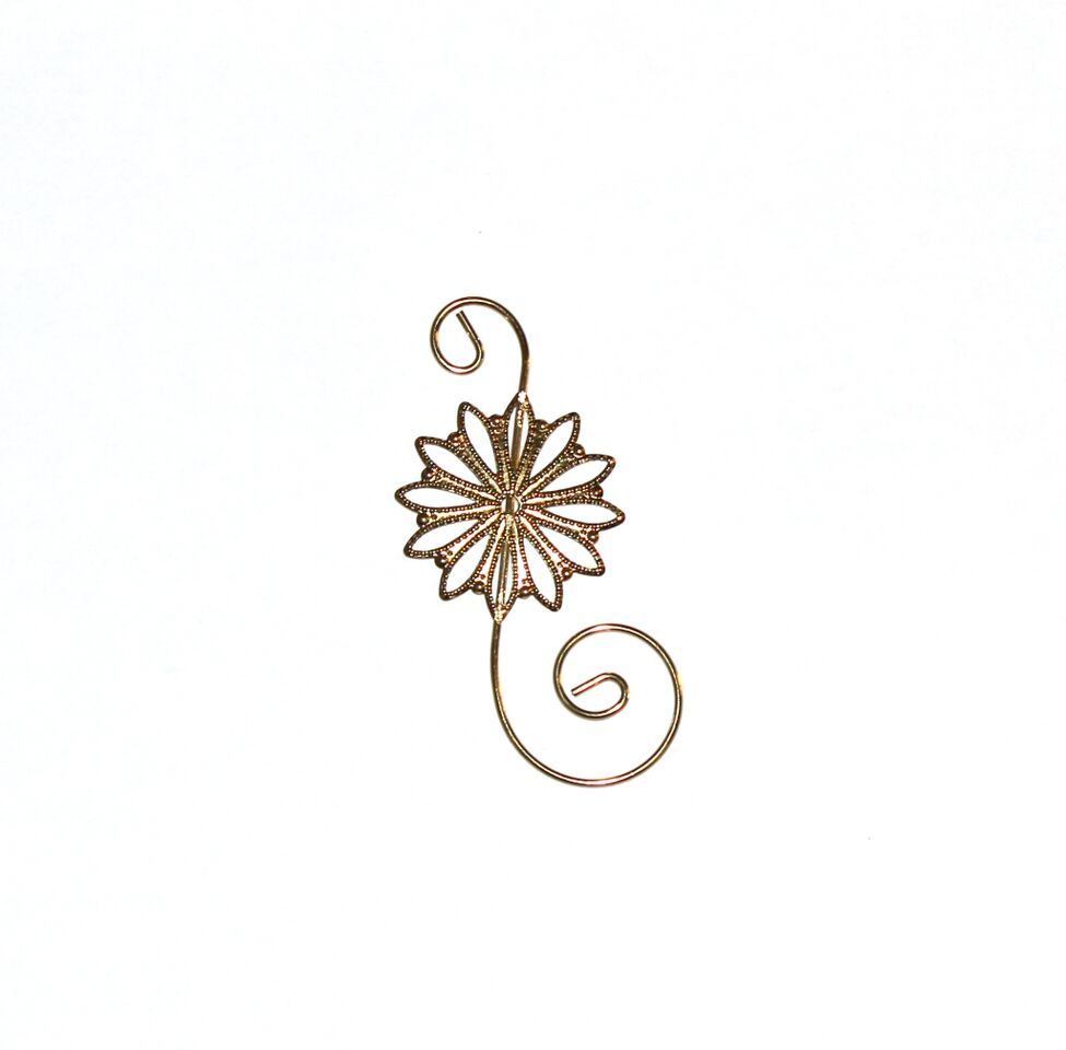 gold and silver floral ornament hooks