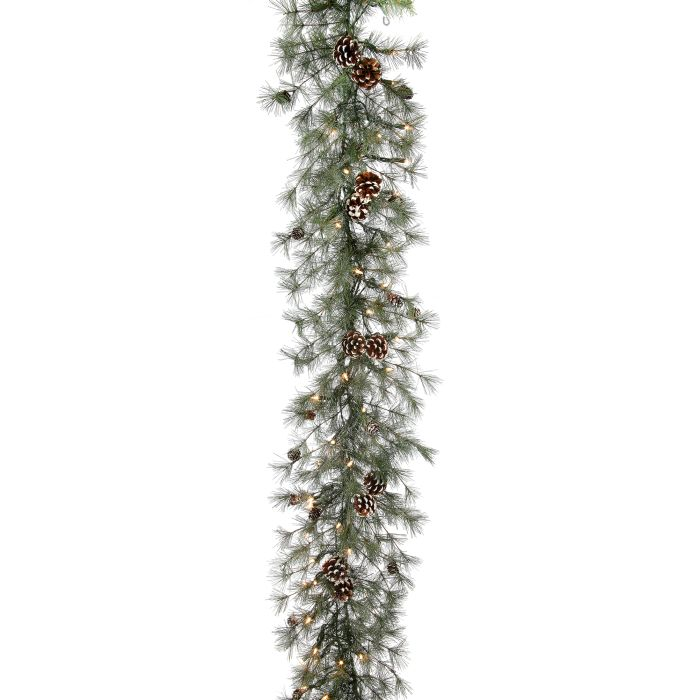MTX45116 winter bristle garland unlit and clear lights