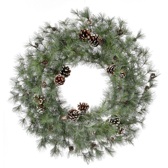 MTX45118 winter bristle 30 inch wreath clear lit wreath unlit wreath with pine cones