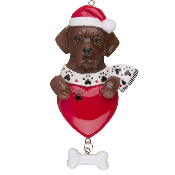 chocolate lab personalized ornament