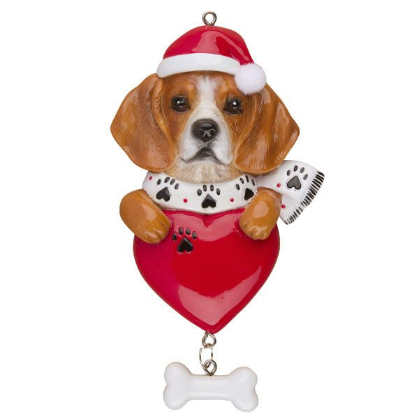 beagle on heart personalized dog ornament