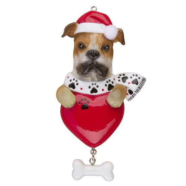 boxer on heart ornament