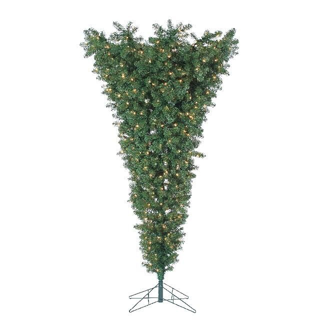 TR243403 7.5 foot upside down tree clear lights christmas tree for pets