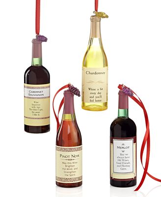 Chardonnay, Gamay Beaujolais, Pino Grigio, Cabernet Wine Bottle Ornaments