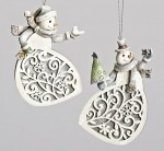 31393 wooden snowman ornament with laser cut design