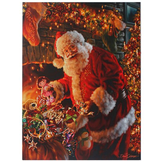 santa with toy bag wall decor
