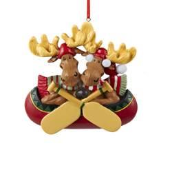 family of 2 moose in canoe ornament