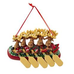moose in canoe family of 5 ornament